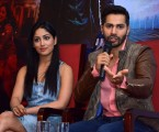 Jaipur: Actors Varun Dhawan and Yami Gautam during a press conference to promote their upcoming film `Badlapur` in Jaipur