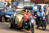 Actors Salman Khan and Jacqueline Fernandez during shooting of a film at Rajpath