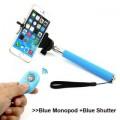 Blue Bluetooth Selfie Stick With Remote Shutter