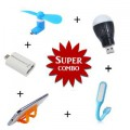 USB Light + V8 Fan + USB Bulb + Mobile Card Stand + Mini OTG
