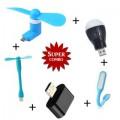 Combo Of USB Fan + Mini OTG + USB Light + USB Bulb + V8 Fan