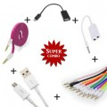 Combo Of Flat Aux Cable + V8 Micro USB Data Cable + Aux Cable + Aux Spliter + OTG Cable