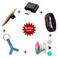 Combo Of 2 in 1 Y Aux Spliter + PopSocket + K3 Slicone Watch + Mini OTG + Slider Ring Holder